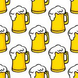 Seamless pattern of beer tankards Stock Photos
