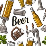 Seamless pattern beer tap, class, can, bottle and hop. Royalty Free Stock Photo