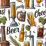 Seamless pattern beer tap, hand hold glass, bottle and hop Royalty Free Stock Photography