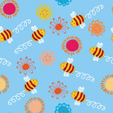 Seamless pattern with bees. And flowers Stock Photo