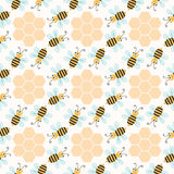 Seamless pattern with bees Stock Photos