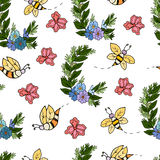 Seamless pattern with bees. Decorative background with floral bouquet and bees Stock Photos