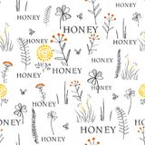 Seamless  pattern with bees and flowers. Hand drawn vintage graphic doodle design. Sketch pattern for print on fabric. Vecto Royalty Free Stock Photos