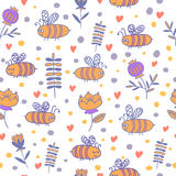 Seamless pattern with bees and flowers. Kids design. Vector summer background Royalty Free Stock Images