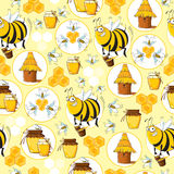 Seamless pattern with Bees & Honey Royalty Free Stock Image