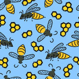 Seamless pattern with bees and honeycombs on blue. Vector honey background Stock Photos