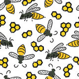 Seamless pattern with bees and honeycombs. Vector honey background Stock Photos