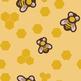 Seamless pattern with bees Royalty Free Stock Photography