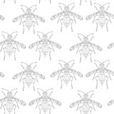 Seamless pattern with bees on the white background. royalty free illustration