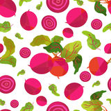 Seamless pattern beetroot and leaves in origami style. On white field Stock Images