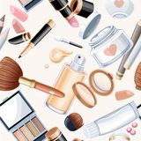 Seamless pattern from beige cosmetic objects Stock Images