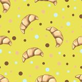 Seamless pattern with beige croissants on yellow background. Bakery and patisserie design. Traditional French breakfast, delicious. Dessert. Vector food Royalty Free Stock Photography