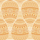 Seamless pattern with beige decorative eggs Stock Photos