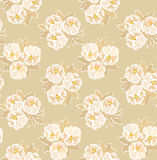 Seamless pattern with beige floral theme Royalty Free Stock Image