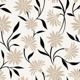 Seamless pattern with beige flowers and black leaves. Vector illustration. Stock Photography