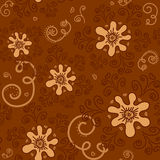 Seamless pattern beige flowers. On a brown background. For printing on packaging, bags, cups, laptop, furniture, etc. Vector Stock Photos