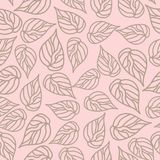 Seamless pattern beige leaf on a creamy background. stock photography