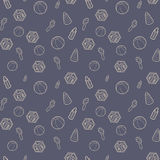 Seamless pattern with beige line art icon of baby cubes, feeding bottles and stacking rings. Royalty Free Stock Photography