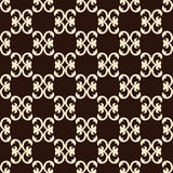 Seamless pattern with beige patterns on a brown background. Vector Stock Image