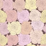 Seamless pattern with beige roses on design backgr Royalty Free Stock Photos