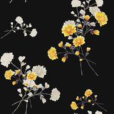 Seamless pattern of beige and yellow flowers and branches on the black background. Watercolor stock images