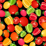 Seamless pattern with bell peppers and tomatoes. Stock Image