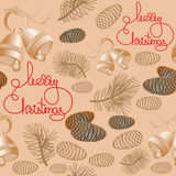 Seamless pattern with bells, pine cone, handwritten words. Vector Xmas seamless pattern. Include bell, pine cone, pine branch and handwritten words Merry Royalty Free Stock Image
