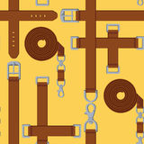 Seamless pattern of belt, buckle and carabiner Stock Photos