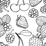 Seamless pattern  of berries. Seamless pattern  of delicious ripe berries, vector background Stock Photo