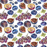 Seamless pattern with berries drawn by hand with colored pencil Stock Photo