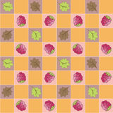 Seamless  pattern  with berries  and leaves. Stock Photos