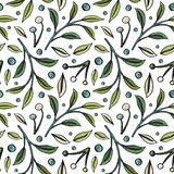 Seamless pattern with berries and leaves on white background vector illustration