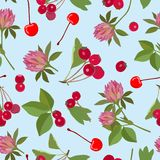 Seamless pattern with berries and plants. Vector illustration. Royalty Free Stock Photo