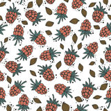 Seamless pattern with berries and raspberry seeds on a white background Stock Photos