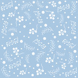 Seamless pattern with berries and spruce branches on a blue background. Vector illustration.Winter Collection Royalty Free Stock Photography