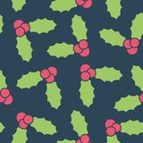 Seamless pattern with berry holly. Simple vector illustration with ability to change stock illustration