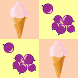 Seamless pattern with berry ice cream in a waffle cone Stock Photo