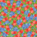 Seamless pattern with berry. Seamless pattern with illustration of strawberry and blueberry Royalty Free Stock Photography