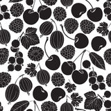 Seamless pattern with berry silhouettes on a white background. R Stock Image
