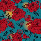 Seamless pattern with beutiful peonies in hand drawn style. Vector illustration vector illustration