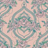 Seamless pattern with beutiful peonies and mendi style deorative frames. Vector illustration royalty free illustration