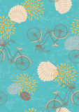Seamless Pattern with Bicycles Stock Photo