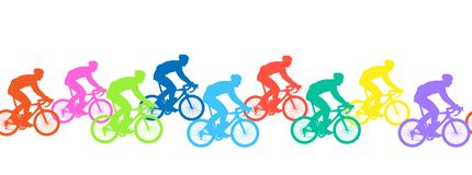 Seamless pattern. Bicyclists silhouettes, competition. vector illustration
