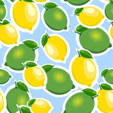 Seamless pattern with big lemons and limes with leaves. Blue background. Stock Photos