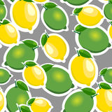 Seamless pattern with big lemons and limes with leaves. Gray background. Royalty Free Stock Images