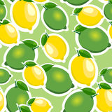 Seamless pattern with big lemons and limes with leaves. Light green background. Seamless pattern with big lemons and limes stickers different sizes with leaves Royalty Free Stock Images