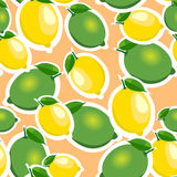 Seamless pattern with big lemons and limes with leaves. Orange background. Stock Image