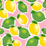 Seamless pattern with big lemons and limes with leaves. Pink background. Stock Images