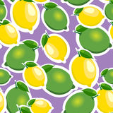 Seamless pattern with big lemons and limes with leaves. Purple background. Stock Images