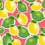 Seamless pattern with big lemons and limes with leaves. Red background. Stock Images